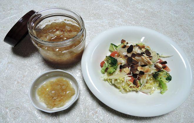 酢タマネギと野菜サラダ