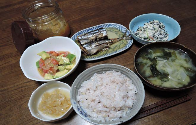 酢タマネギと夕食