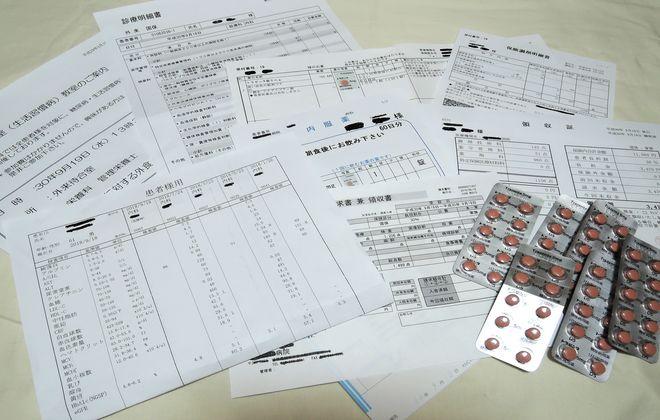 糖尿病検診の検査結果票と領収証など