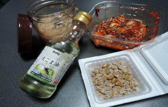 キムチ・納豆・酢しょうが・エゴマ油