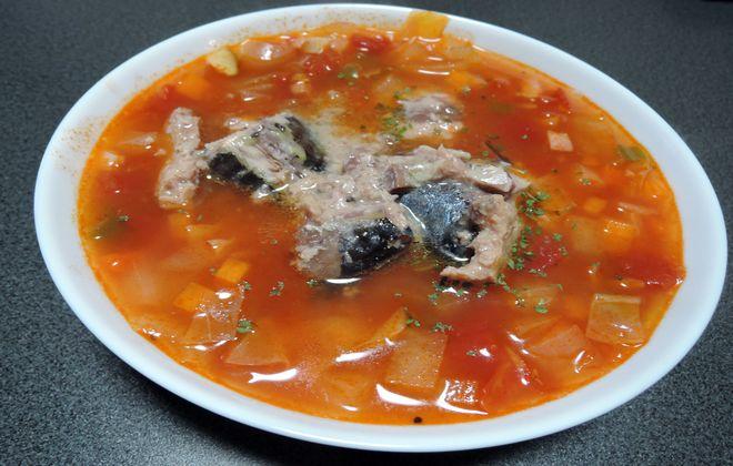 サバ水煮缶とミネストローネの糖質制限スープ