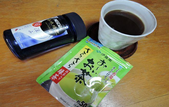 コーヒーと緑茶を混ぜる