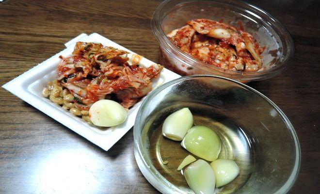 酢ニンニクとキムチ納豆