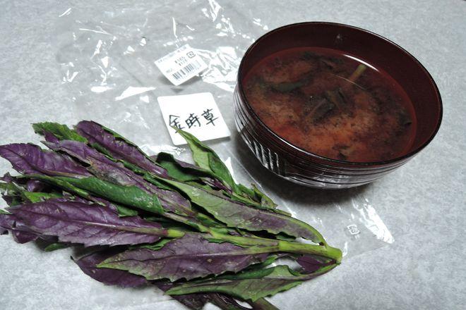 金時草と味噌汁