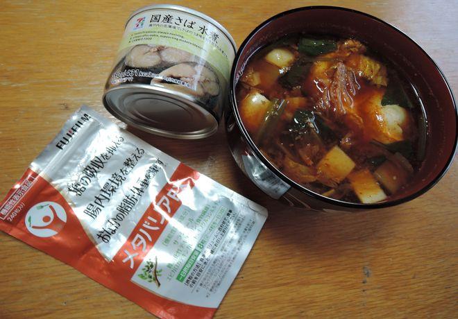 さば水煮缶のチゲ風スープ
