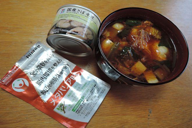 鯖水煮缶のチゲ風スープ