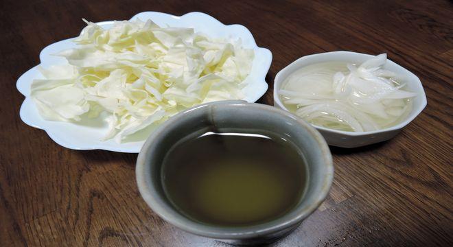 黒酢茶・酢たまねぎ・ザク切りキャベツ