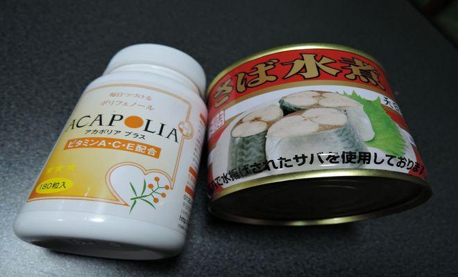 アカシアポリフェノールとサバ水煮缶