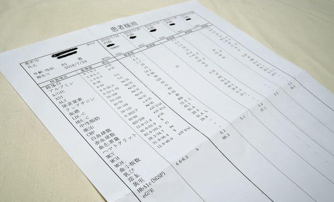 2型糖尿病定期検診結果票
